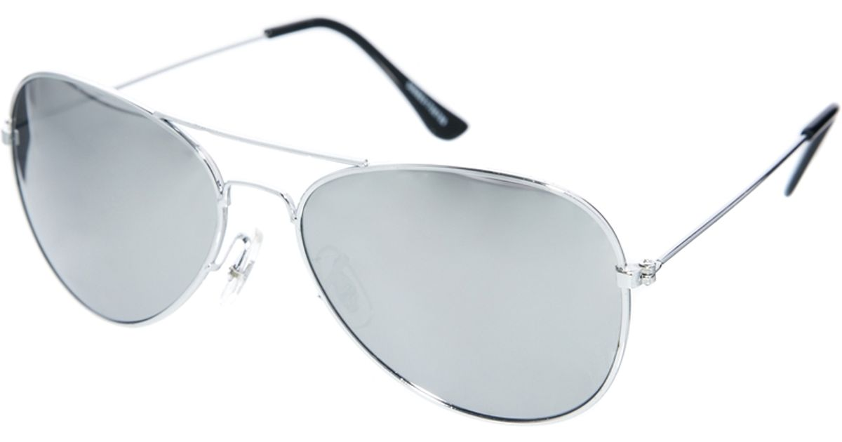 500513e8b8fa ASOS Silver Aviator Sunglasses with Mirror Lens in Metallic - Lyst