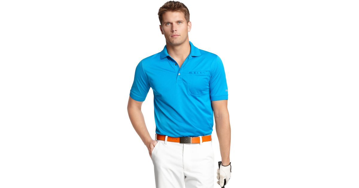 Lyst izod slim fit pocket polo shirt in blue for men for Slim fit golf shirts