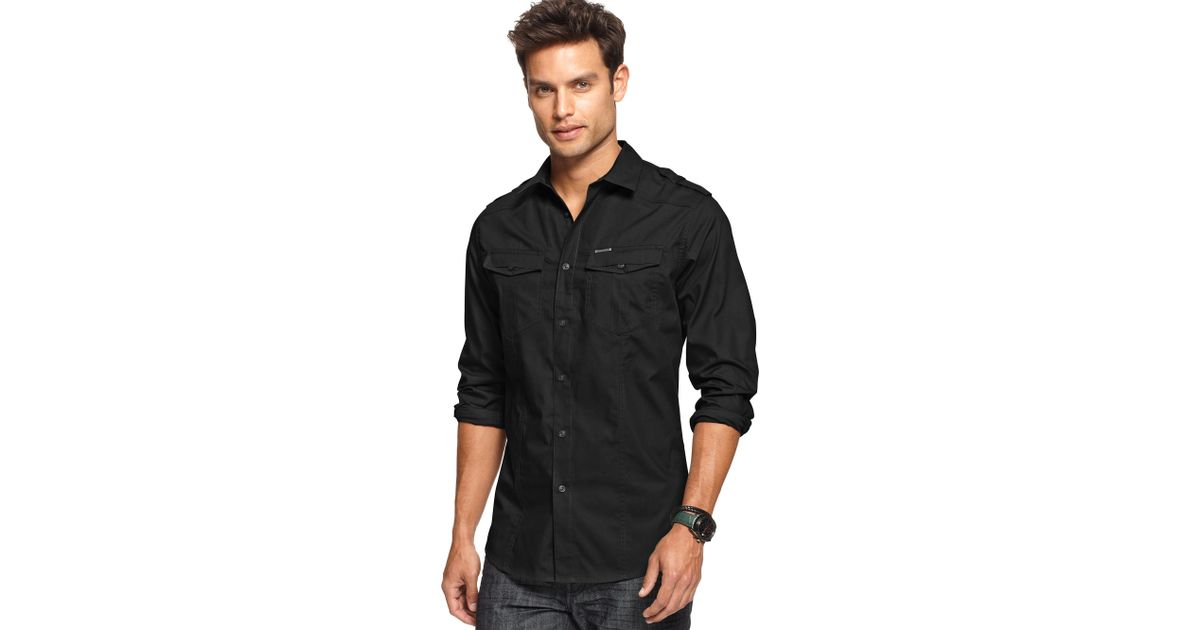 Lyst marc ecko long sleeve solid military shirt in black for Marc ecko dress shirts