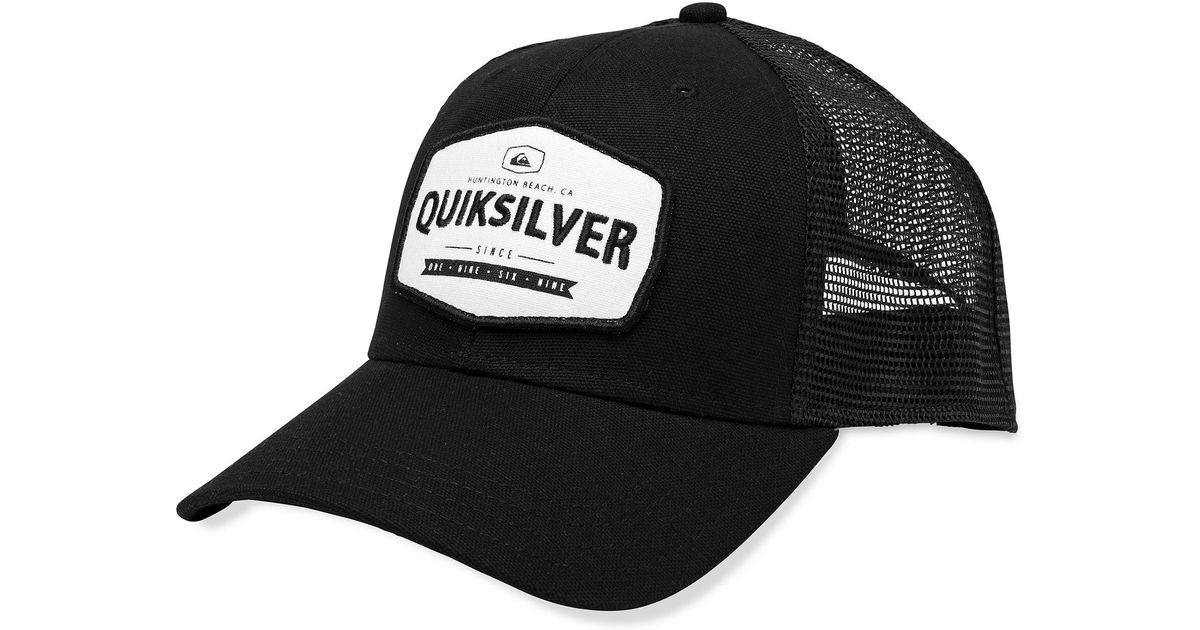 Lyst - Quiksilver Please Hold Patch Trucker Hat in Black for Men f69994b066c