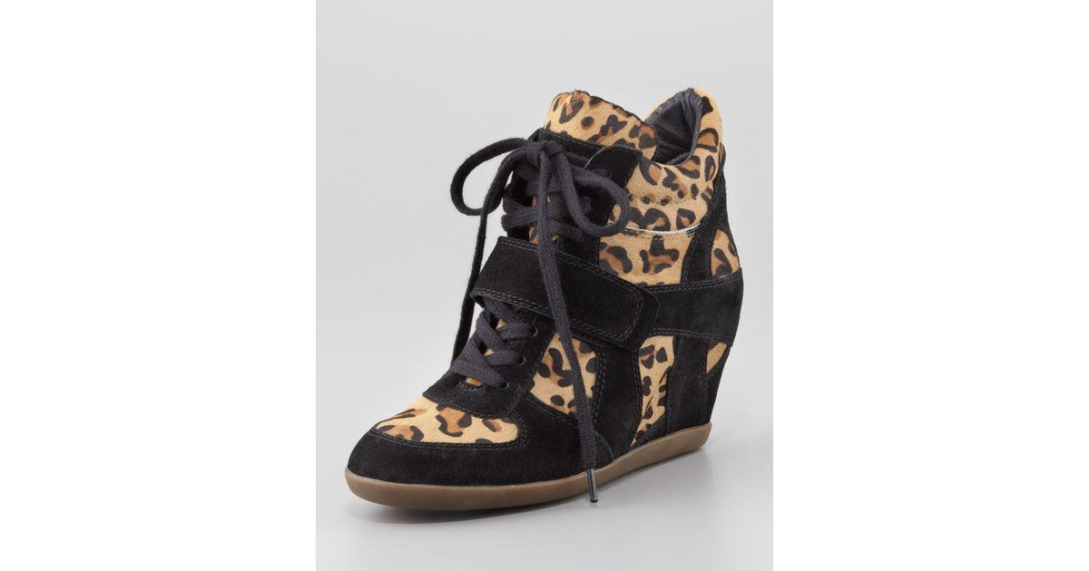 d5e3155b31c7 Lyst - Ash Bonno Leopardprint Calf Hair Wedge Sneaker in Black