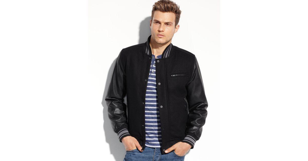 Guess Coats Wool Varsity Bomber Jacket In Black For Men Lyst