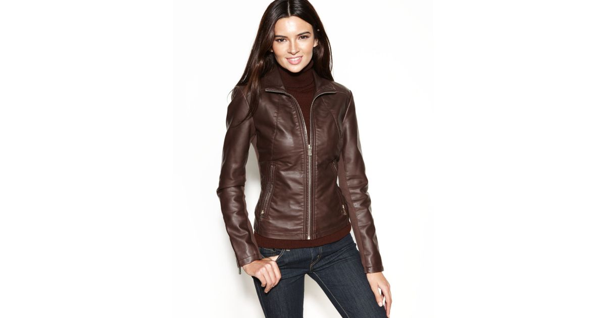 83b7222cc Kenneth Cole Reaction Brown Faux-leather Zippered-cuff Jacket