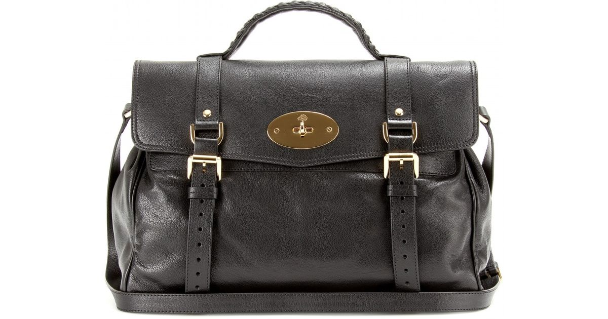 a84e635f4a ... cheap lyst mulberry oversized alexa leather satchel in black 6d73e f021d