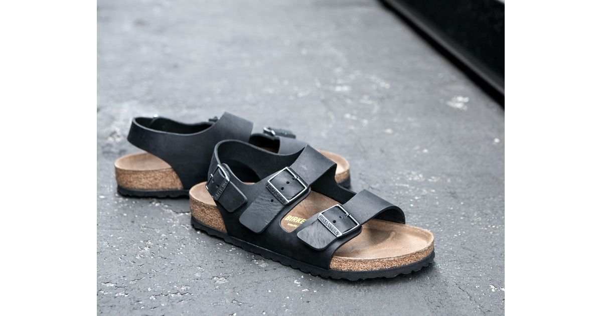 0d74b00d50f Lyst - James Perse Birkenstock Mens Milano Oiled Leather Sandal in Black  for Men