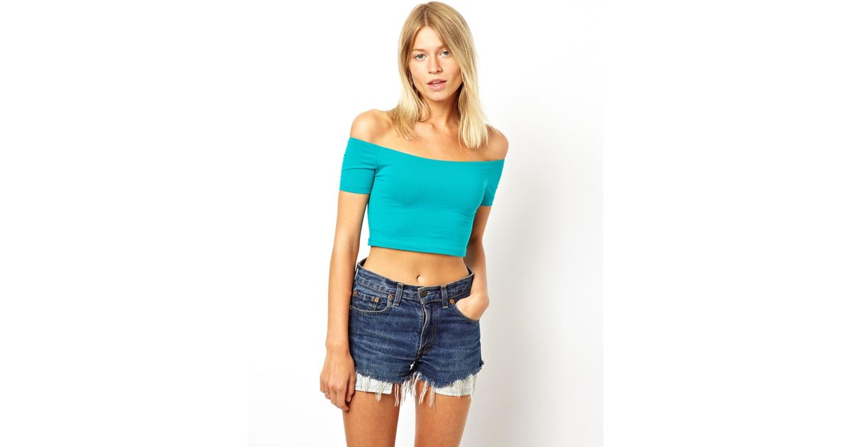 5ee754a3d2c6b2 ASOS 90s Crop Top with Off The Shoulder Detail in Blue - Lyst