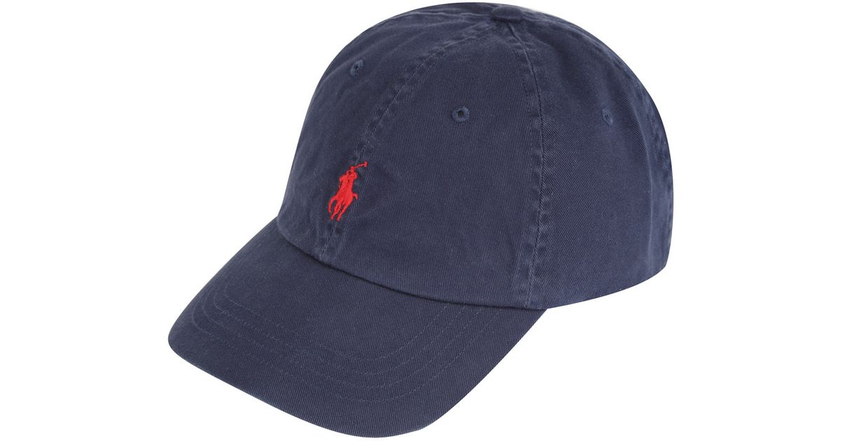 9bf8035a484d Lyst - Polo Ralph Lauren Navy and Red Logo Cap in Blue for Men