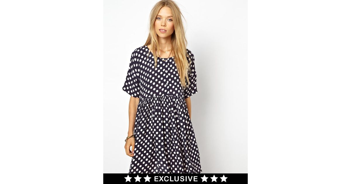 3728a520d7e Lyst - Ganni Exclusive To Asos Smock Dress in Navy Polka Dot Print in Blue