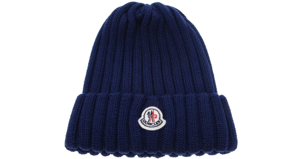 e21c57f9f6c Lyst Moncler Wool Ribbed Knit Beanie Hat In Blue For Men