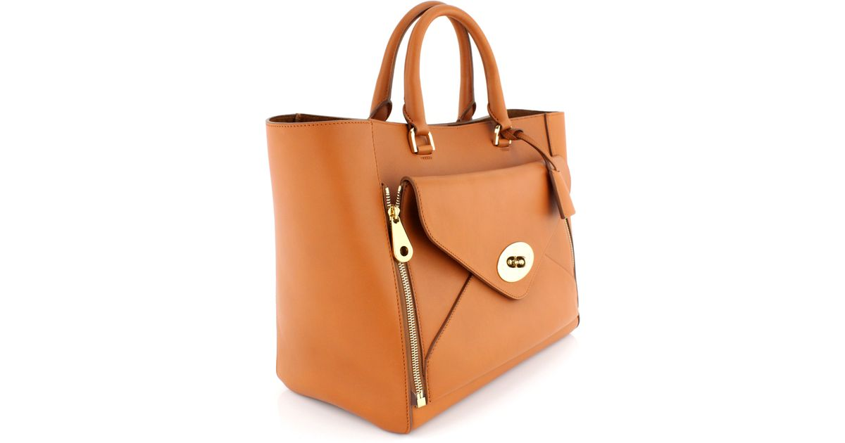 ... shop lyst mulberry ginger silky calf willow tote in brown ec96a 778f9 da391570a2c4e