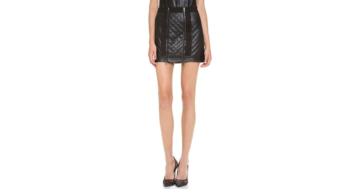 Bcbgmaxazria Roxy Quilted Faux Leather Skirt in Black | Lyst