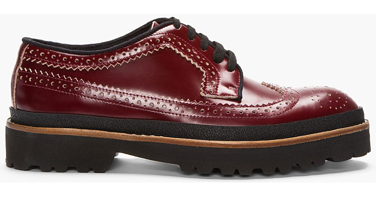 Marni Red Leather Thick-soled Longwing