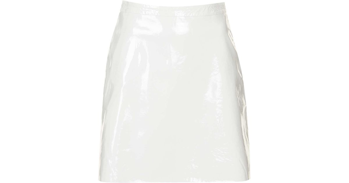 TOPSHOP Patent Leather A-Line Skirt in