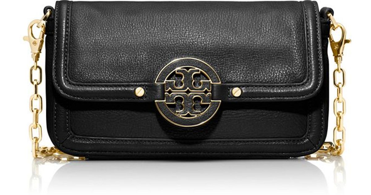 11cb662178d Lyst - Tory Burch Amanda Mini Chain Crossbody in Black