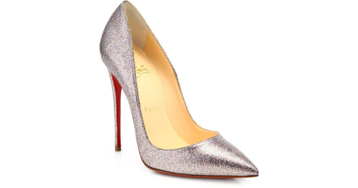 best service a8661 8b8f5 Christian Louboutin Metallic So Kate Glitter Pumps