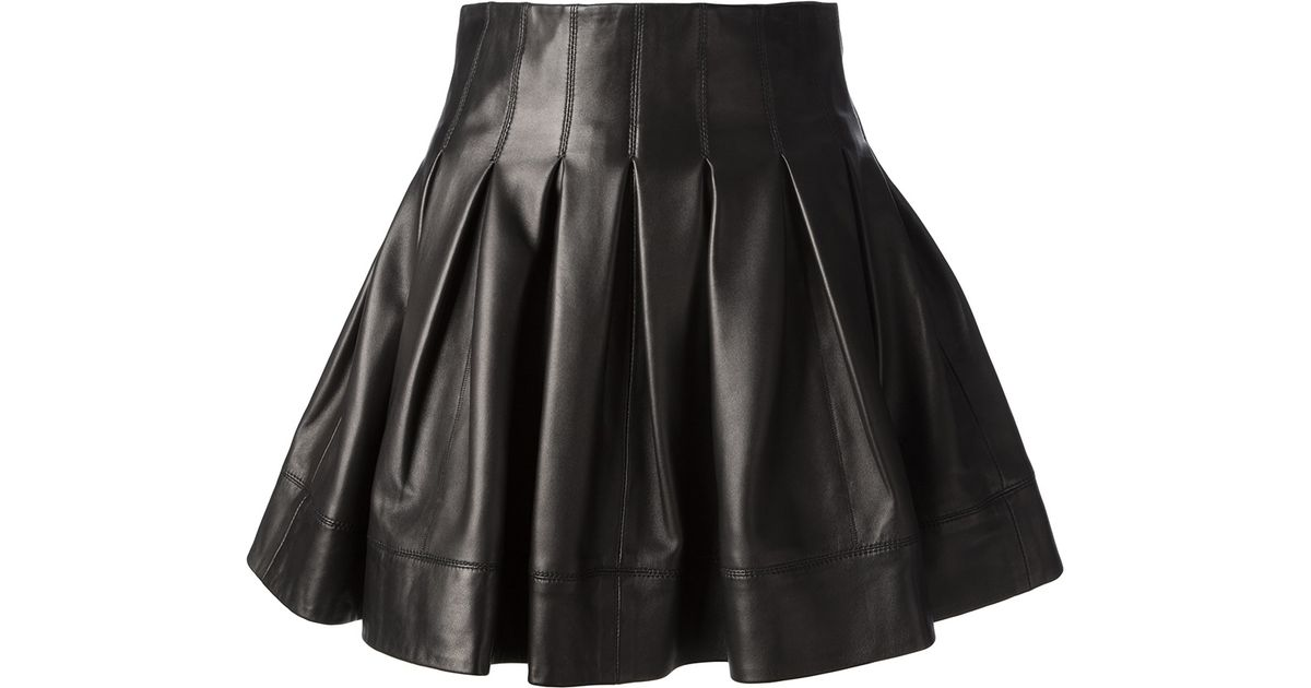 Sly010 Flared Leather Skirt in Black | Lyst