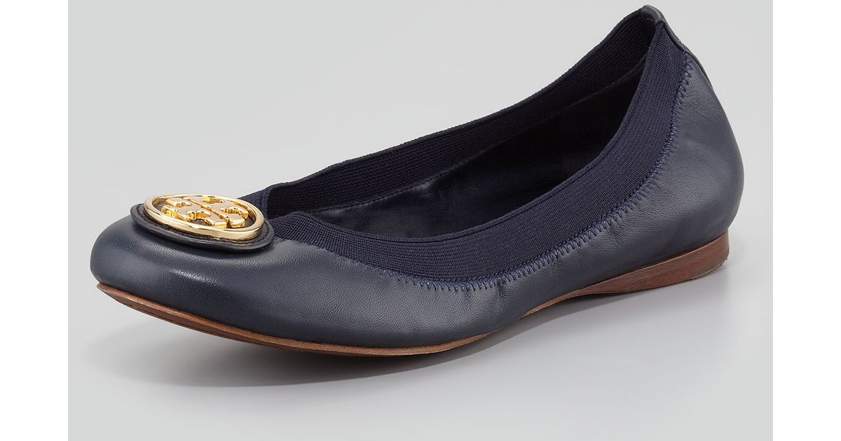 fa330b862c90 Lyst - Tory Burch Caroline 2 Leather Stretch Ballerina Flats Bright Navy in  Blue