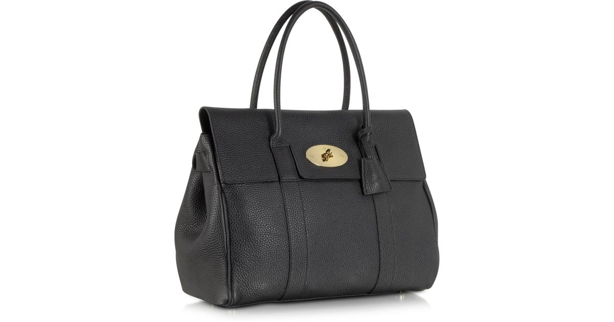 fe96a01a7b0 Mulberry Bayswater Black Grain Leather Tote Bag in Black - Lyst