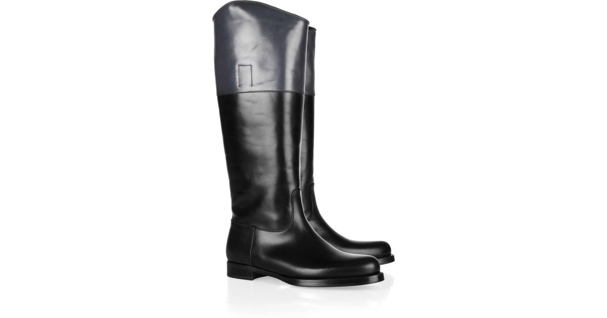 Jil sander Twotone Leather Riding Boots in Black | Lyst