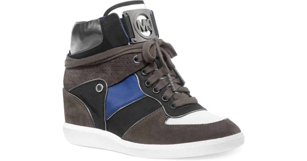 46b4e3842c90c Lyst - Michael Kors Nikko Hightop Wedge Sneakers in Gray