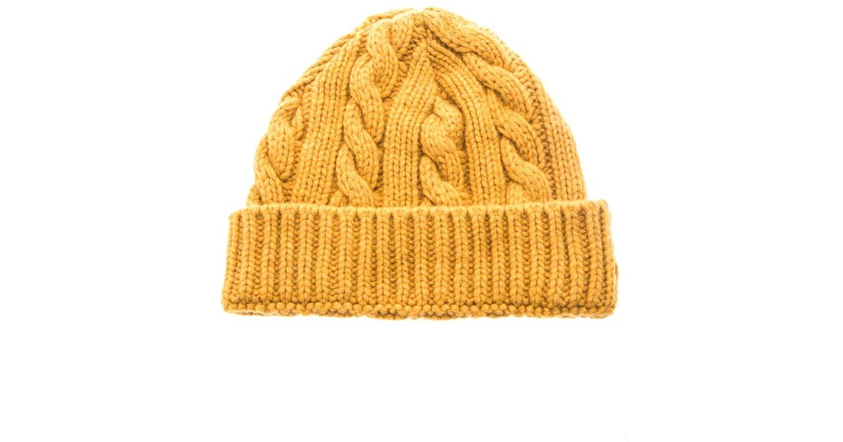 e35dcbfb9 Oliver Spencer Yellow Cable Knit Beanie Hat for men