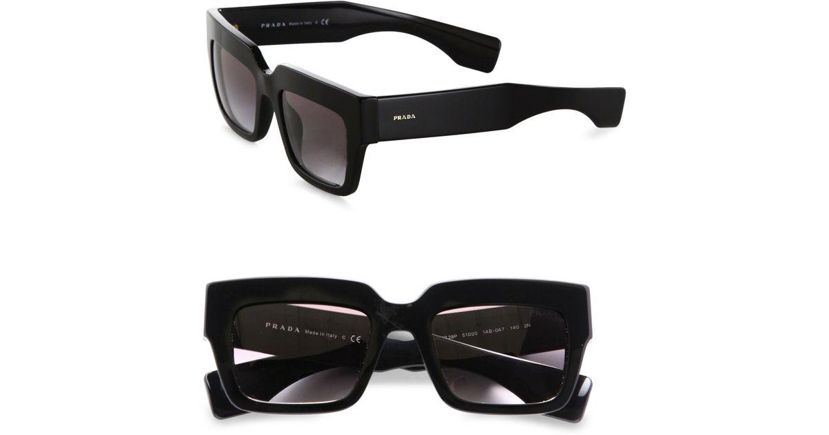 1e7ba0d9bff ... reduced lyst prada thick square sunglasses in black b2cf8 f16f2