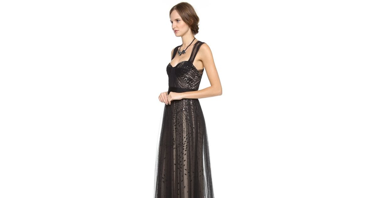 Lyst Monique Lhuillier Bustier Top Gown With Tulle Straps In Black