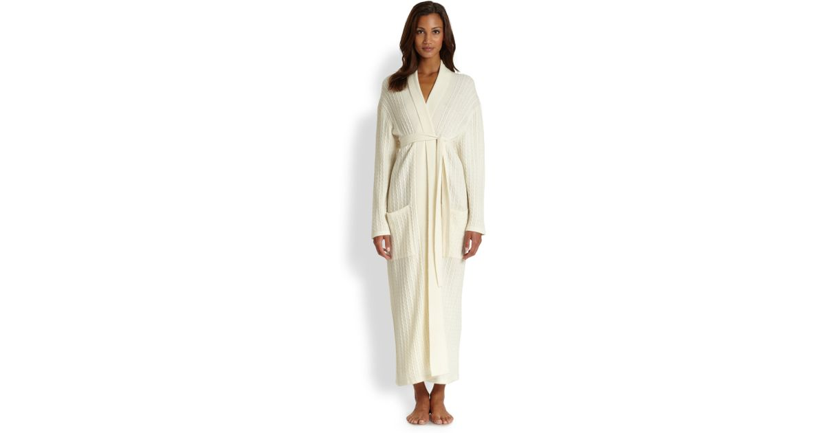 Lyst saks fifth avenue long cable cashmere robe in white for Saks 5th avenue robes de mariage