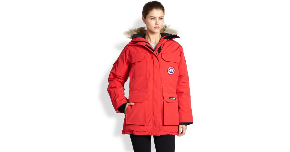Canada Goose Red Fur Trimmed Down Expedition Parka