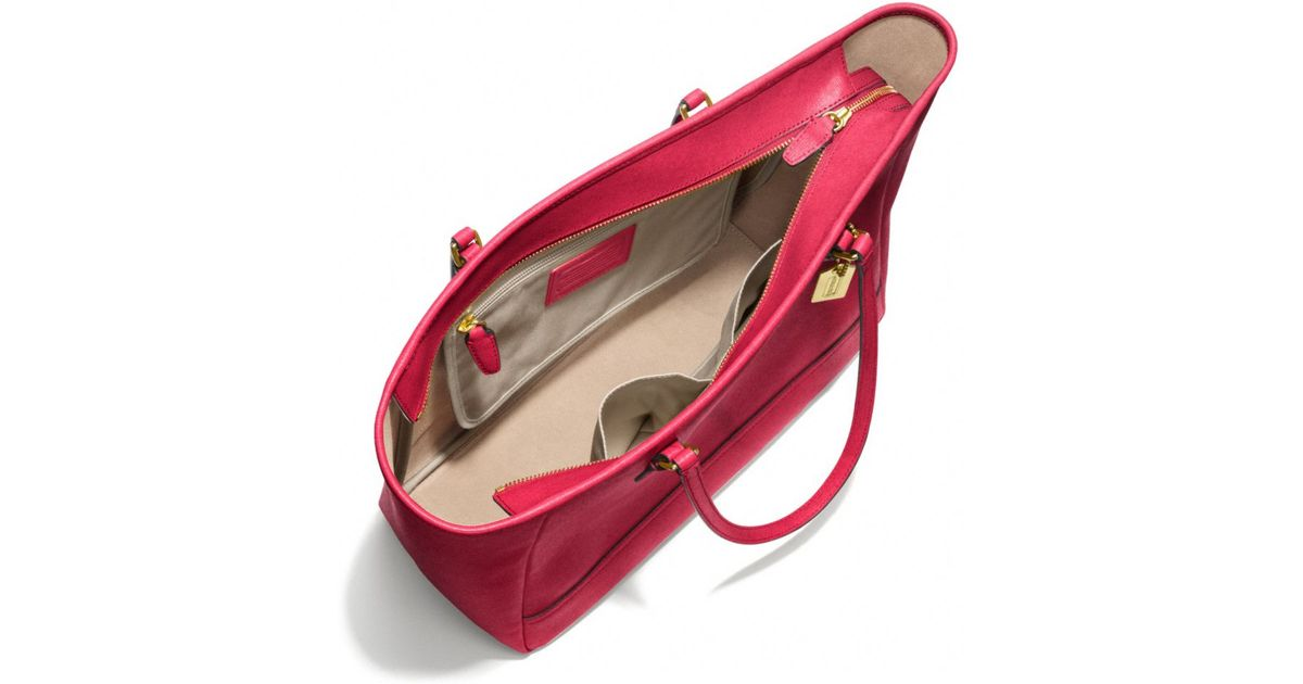 ... Coach Medium City Tote in Saffiano Leather in Red Lyst ... 29418f1e22d5a