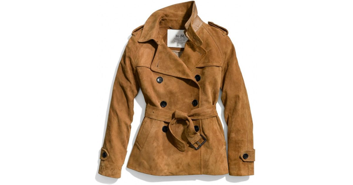 Coach Suede Short Trench In Camel Brown Lyst