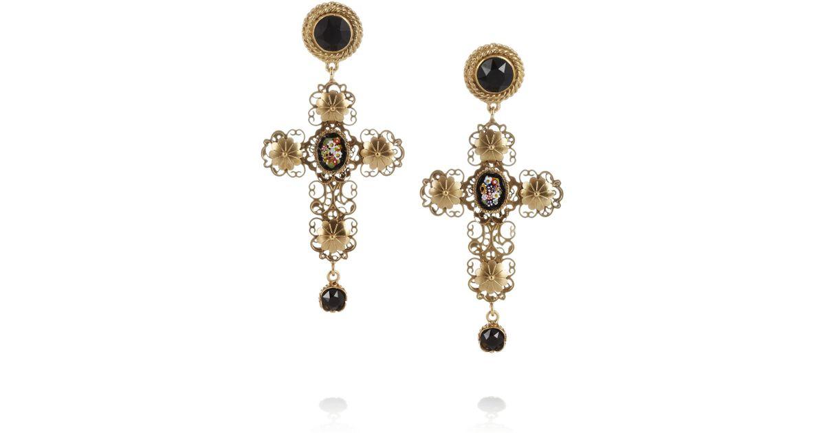 f65a6f07d Dolce & Gabbana Goldplated Swarovski Crystal Cross Clip Earrings in Metallic  - Lyst