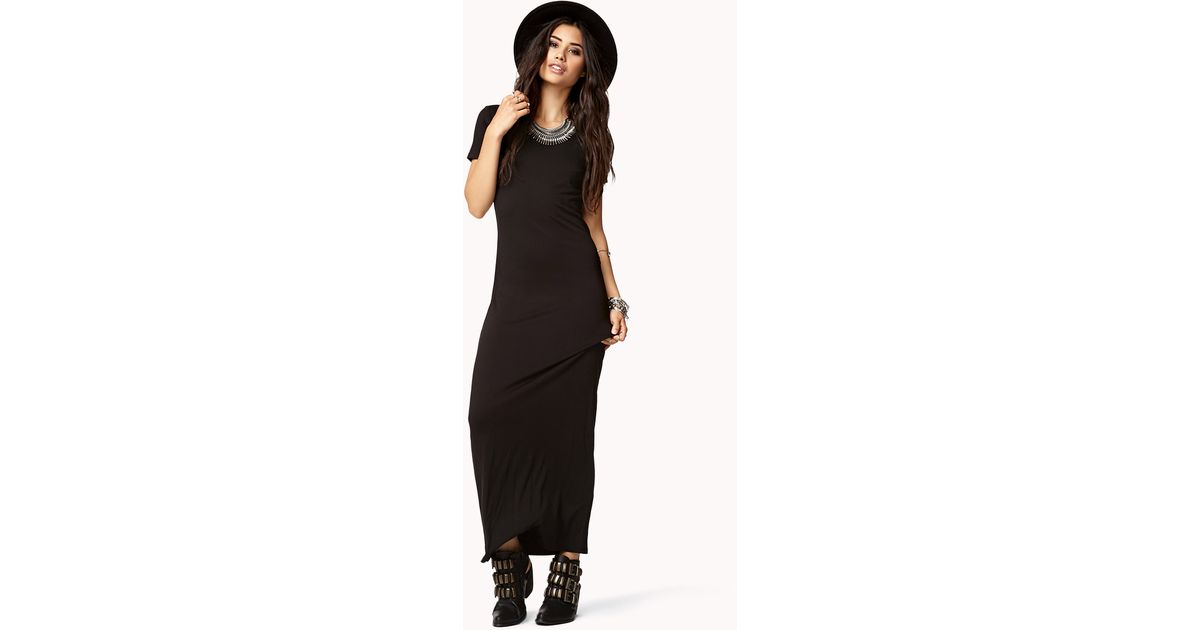 Lyst Forever 21 Short Sleeve Maxi Dress In Black