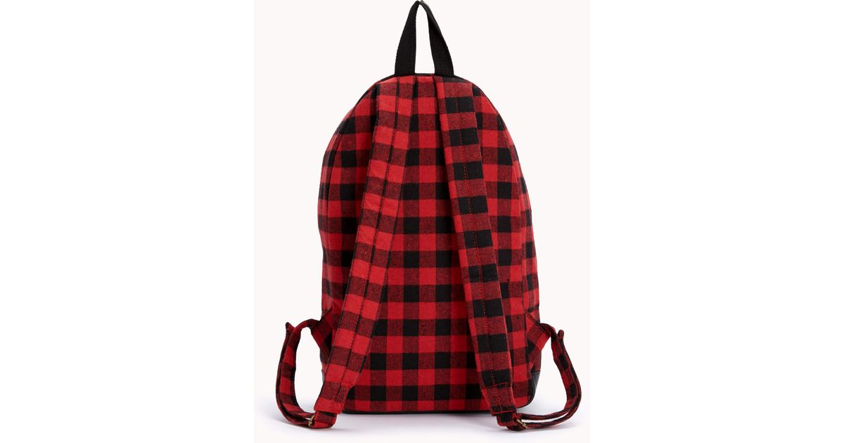 1a0a189362ee Lyst - Forever 21 Forever Cool Plaid Backpack in Red