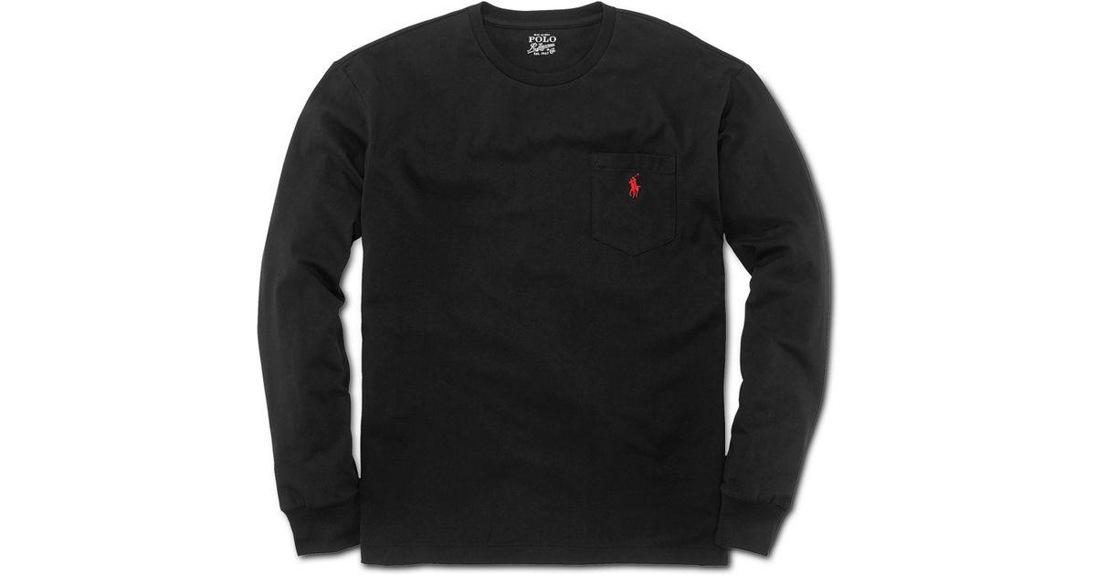 Pocket Jersey Crew Men Black Cotton Shirt For T Classicfit Ralph Lauren Long Sleeve Neck OXZPiuk