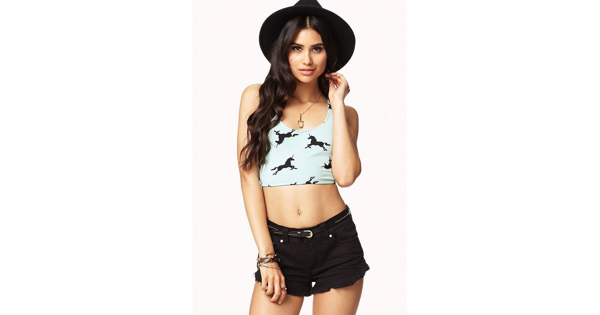 5994acbbdb1 Forever 21 Unicorn Crop Top in Black - Lyst