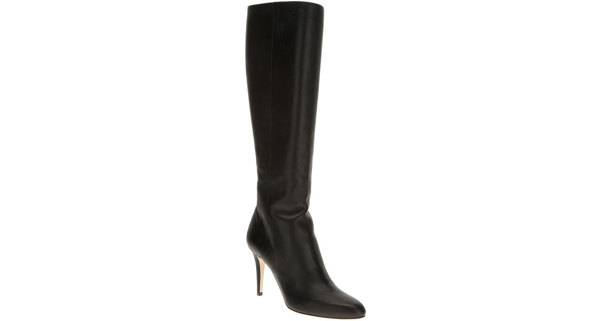 Jimmy Choo Black Leather Aiden Stretch Low Heel Knee High
