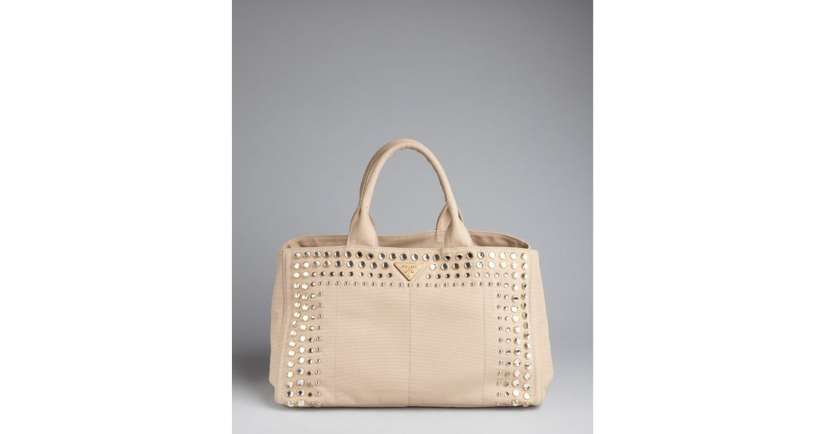 Prada Khaki Canvas Jeweled Trim Top Handle Bag in Khaki | Lyst