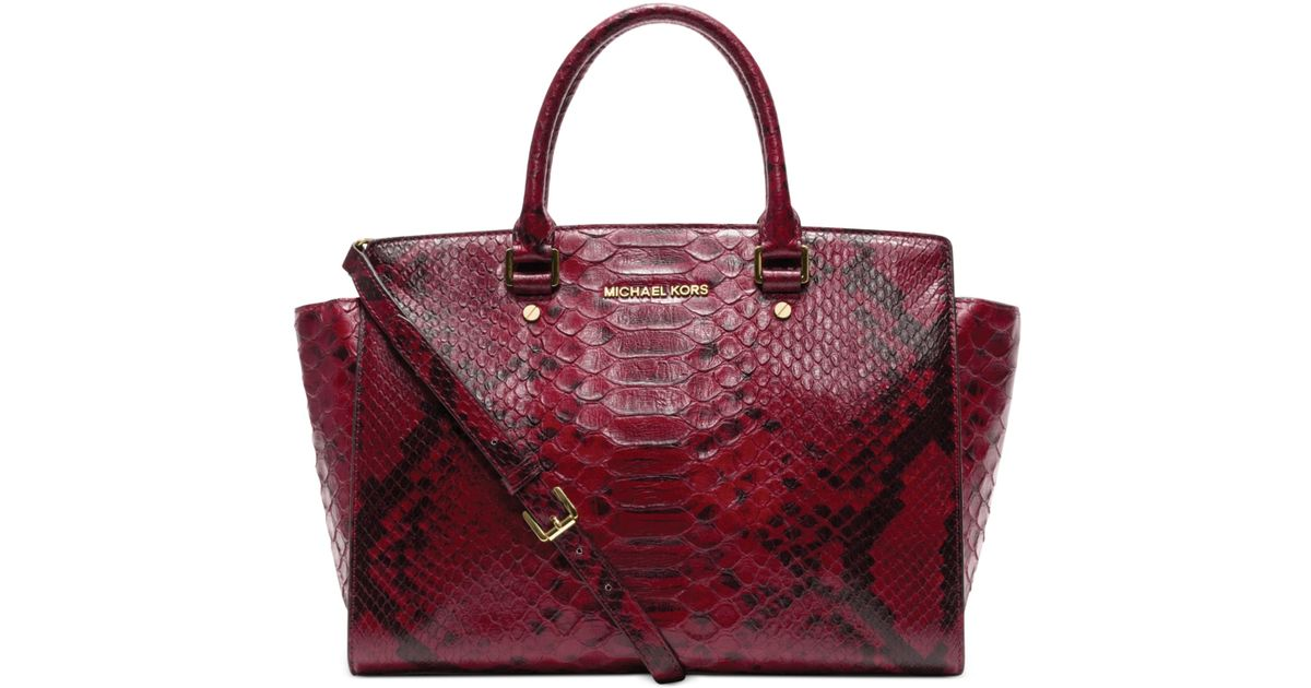 78d854062d3c6 Lyst - Michael Kors Selma Large Top Zip Anaconda Satchel in Red