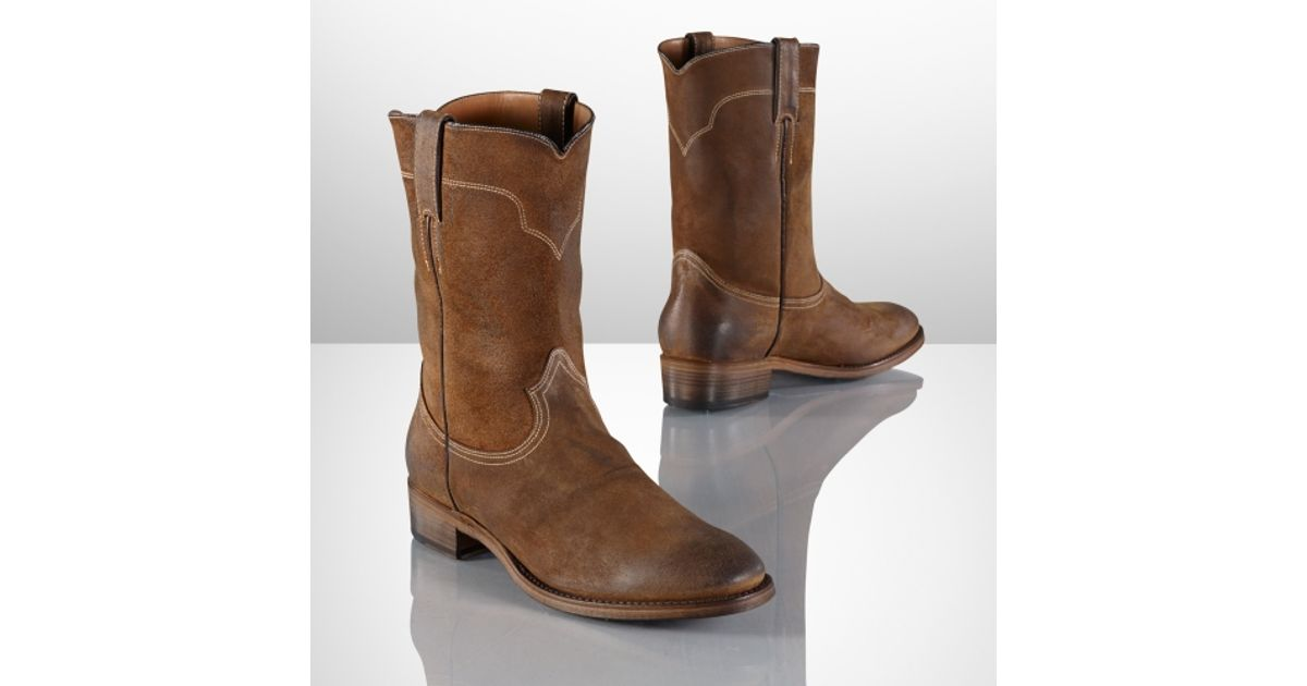 4b93fba0700 Ralph Lauren Brown Ackley Oiled Suede Boot for men