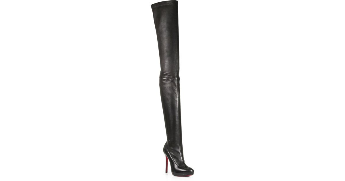 new concept 56172 29d93 Christian Louboutin Black Louise Stretch Leather Thigh-high Boots