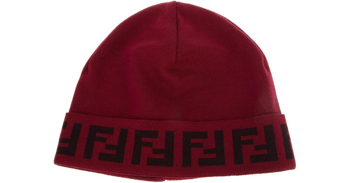jacquard FF logo beanie - Red Fendi ekVhQW