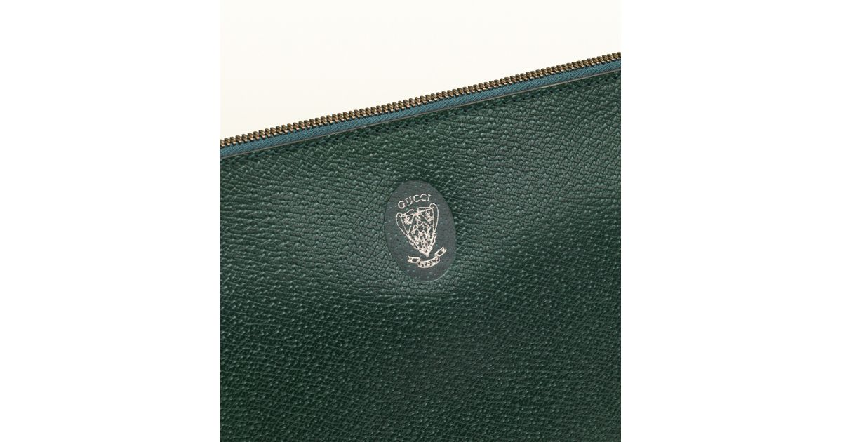 lowest price 63e41 61f3a Gucci Green Leather Portfolio Case with Chain Detail for men