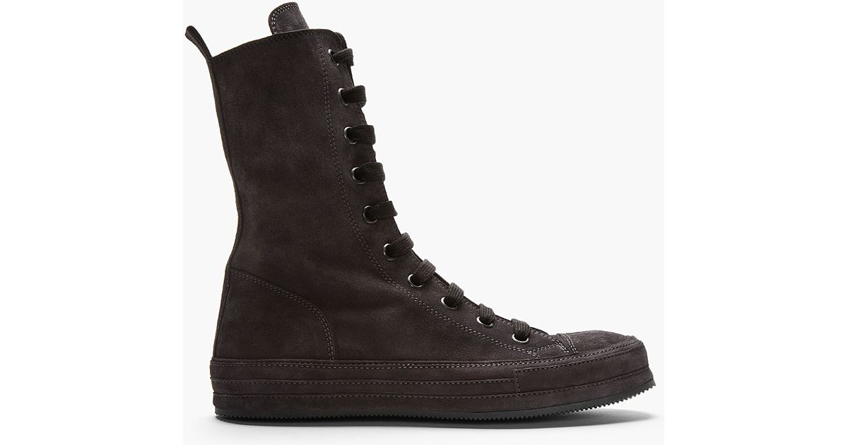 Demeulemeester Top Sneakers Ultra High In Black Lyst Suede Ann Yx0w65