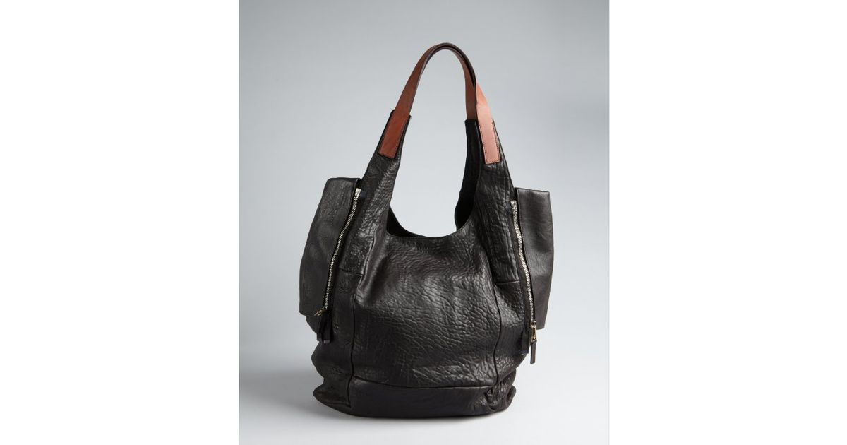 C¨¦line Black and Tobacco Washed Leather Double Zip Tote in Brown ...