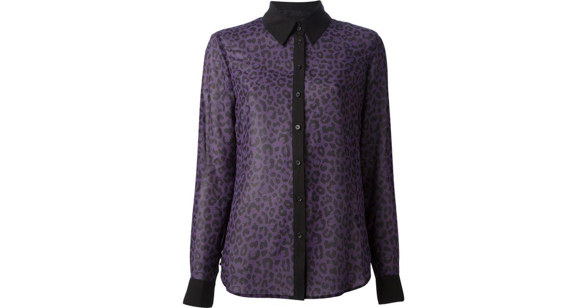 New Lyst - Karl Lagerfeld Leopard Print Blouse in Purple PR95