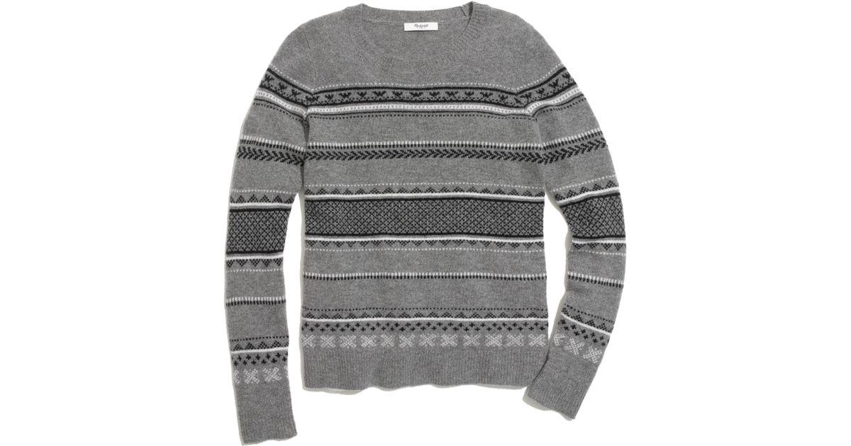 Lyst - Madewell Fair Isle Striped Sweater in Gray