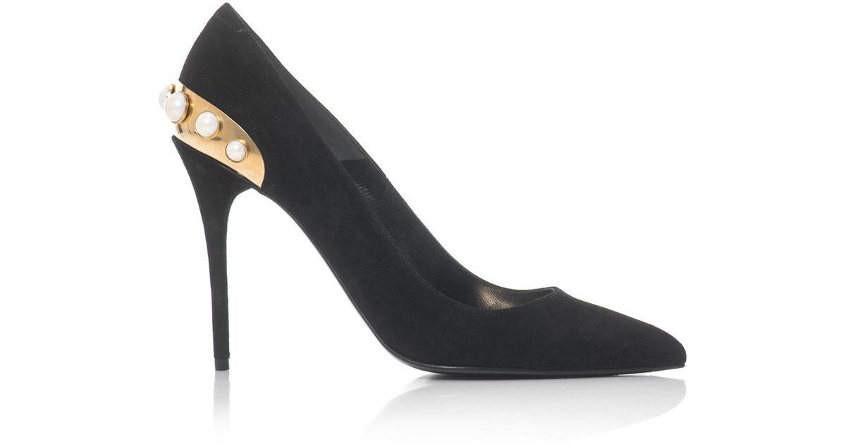 674c64d63993 Lyst - Alexander McQueen Pearl Plate Suede Pumps in White