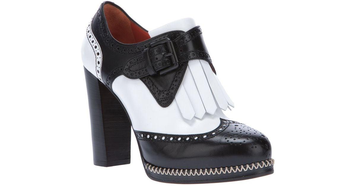 Santoni High Heel Brogue in Black