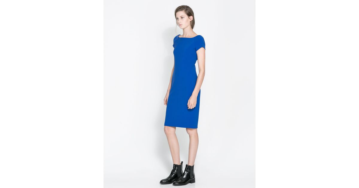Zara Shift Dress in Blue  Lyst
